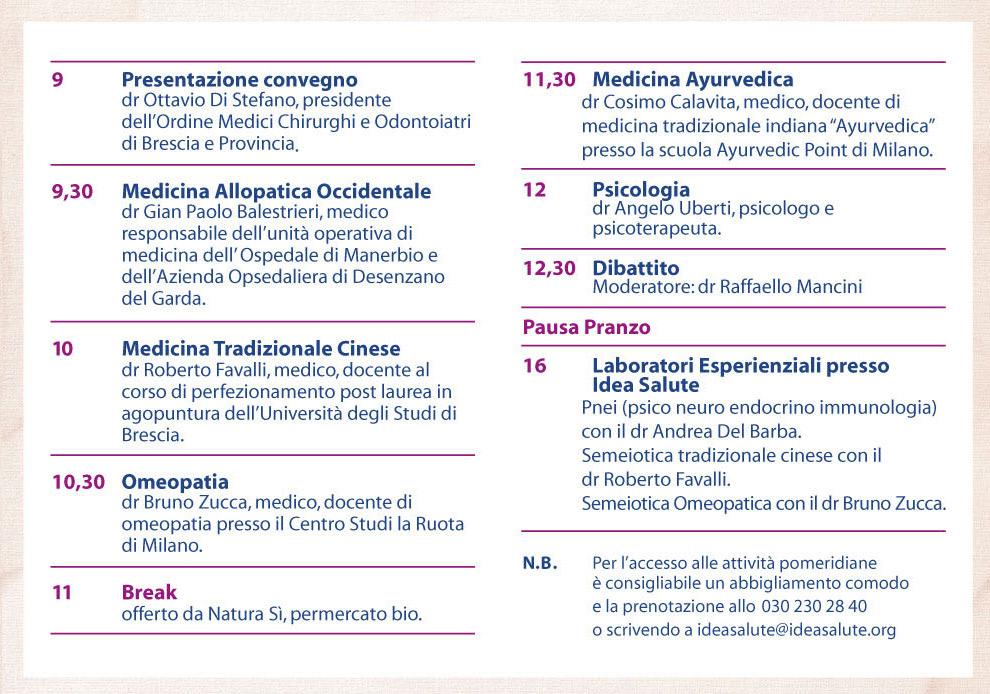 LA MEDICINA INCONTRA LA MEDICINA. L'AMBIENTE: DENTRO DI NOI, INTORNO A NOI.       Sabato 26 ottobre